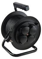 Удлинитель силовой на кабельной катушке Stern, 3*1,5мм*25м, 4 розетки с крышкой, 16A