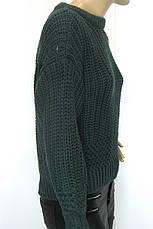Жіночий в'язаний  короткий светр смарагдового кольору, фото 3
