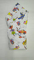 Осенний конверт-одеяло на выписку с машинками для мальчика
