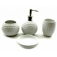 """Набор для ванной керамический """"Гольф"""" белый (23х21х11 см) ( 32749)"""