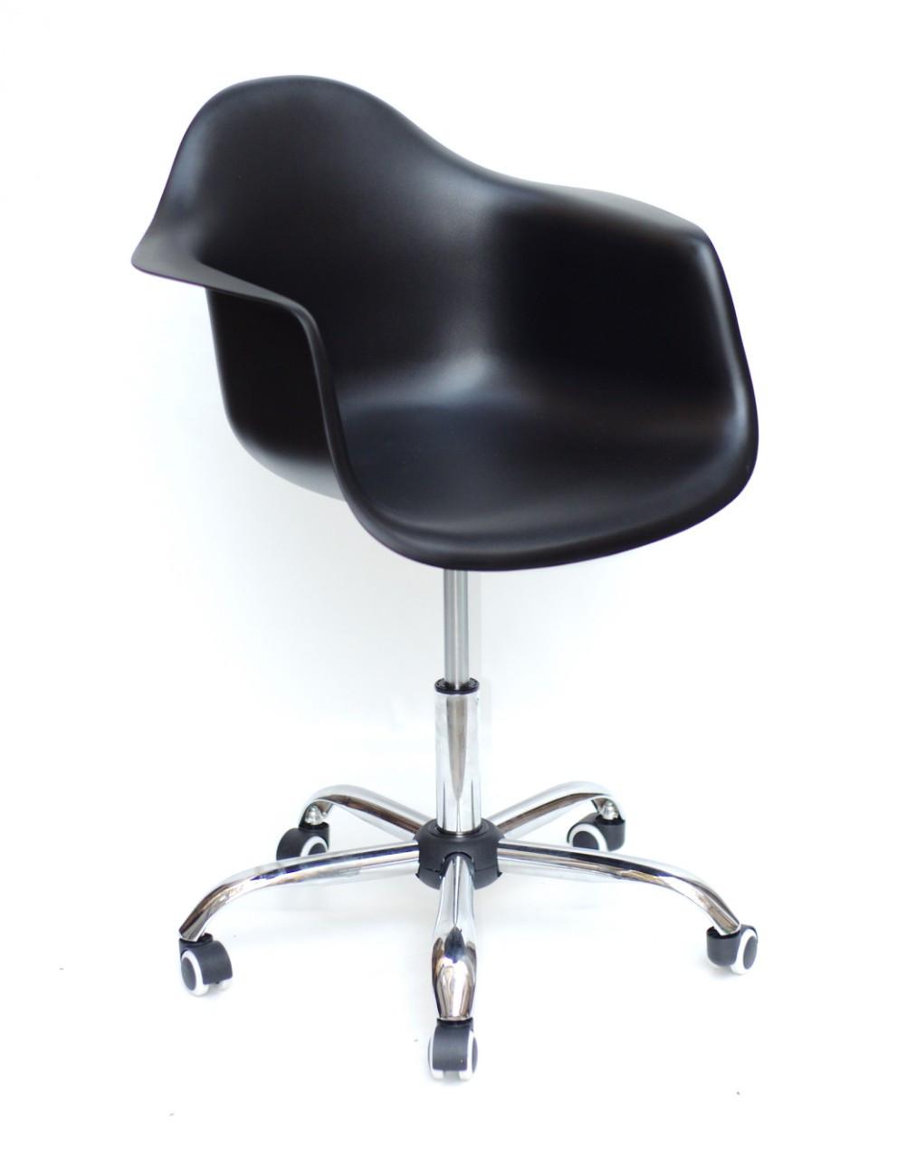Кресло офисное пластиковое на колесах Leon  Office , черный 04