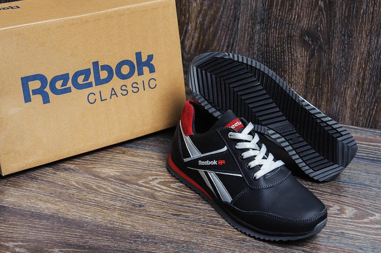 Мужские кожаные кроссовки в стиле Anser Reebok NS black черные