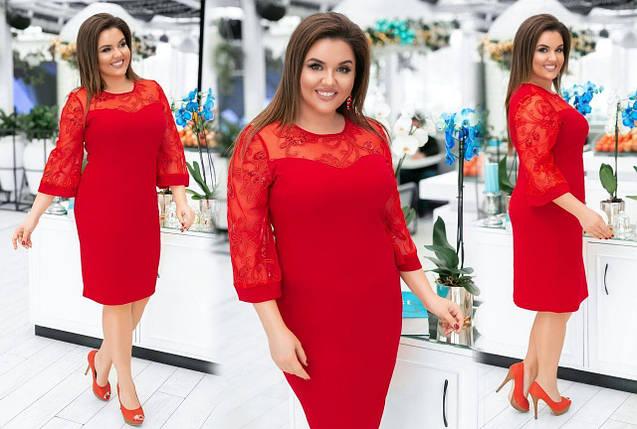 """Романтическое женское платье с дополнением органзы и цветочной вышивкой """"Креп-Дайвинг"""" 48 размер, фото 2"""