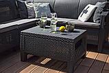 Стол садовый уличный Keter Corfu Сoffee Rattan Style Table из искусственного ротанга, фото 7