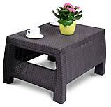 Стол садовый уличный Keter Corfu Сoffee Rattan Style Table из искусственного ротанга, фото 10