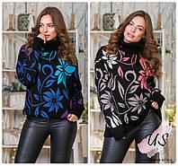 Женский вязаный свитер с цветочным узором. Цвета!