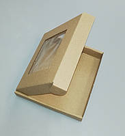 Короб картонный для пряников 155*152*26 (с пленочкой) буро-бурая