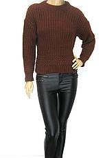 жіночий короткий в'язаний светр гірчичного кольору, фото 3