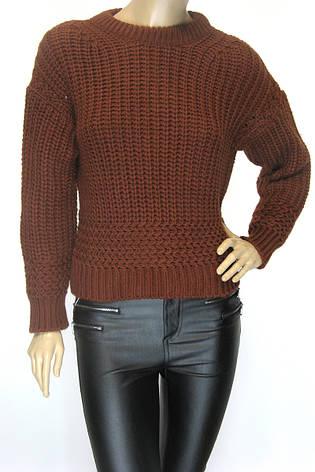 жіночий короткий в'язаний светр гірчичного кольору, фото 2