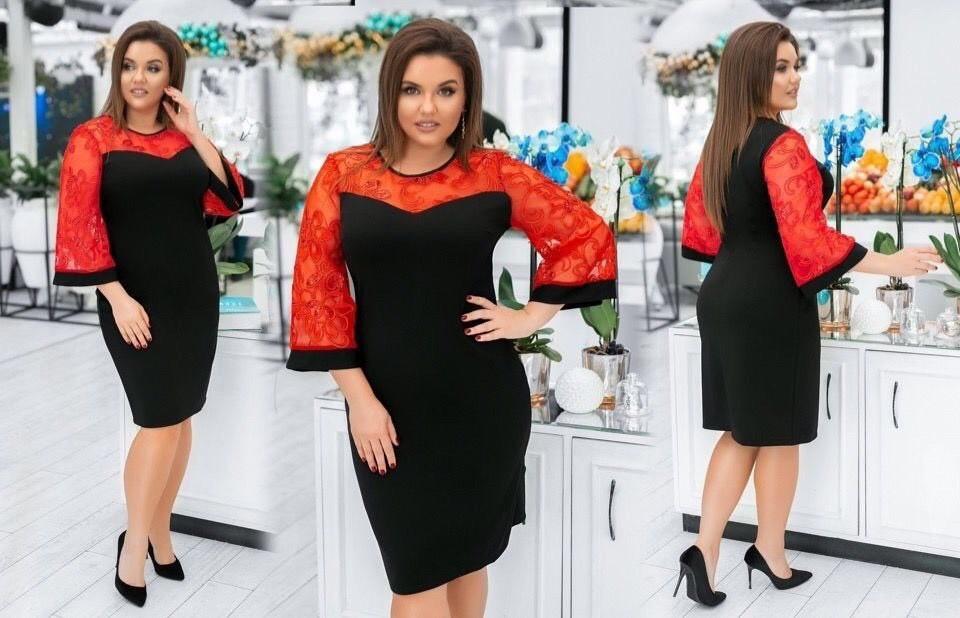 """Романтическое женское платье с дополнением органзы и цветочной вышивкой """"Креп-Дайвинг"""" 48 размер"""