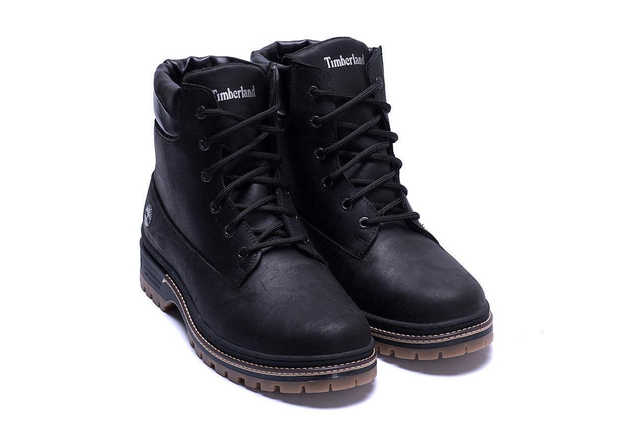 Мужские зимние кожаные ботинки в стиле Timberlend Crazy Shoes Black черные