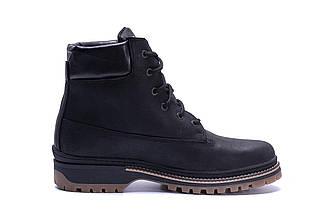 Мужские зимние кожаные ботинки в стиле Timberlend Crazy Shoes Black черные, фото 3