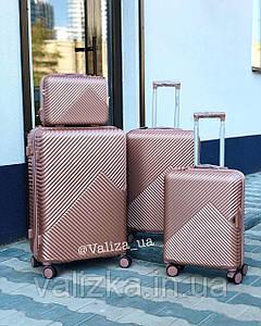 Комплект валіз з полікарбонату преміум серії 3 штуки малий, середній, великий + б'юті кейс рожеве золото