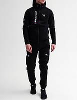 Спортивный костюм зимний мужской в стиле Puma BMW Motorsport black / ЛЮКС качество