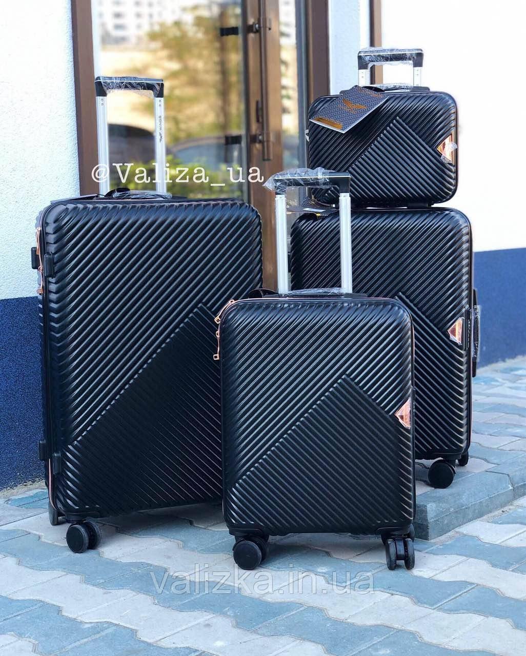 Комплект чемоданов из поликарбоната премиум серии 3 штуки малый, средний, большой + бьюти кейс черный