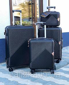 Комплект валіз з полікарбонату преміум серії 3 штуки малий, середній, великий + б'юті кейс чорний