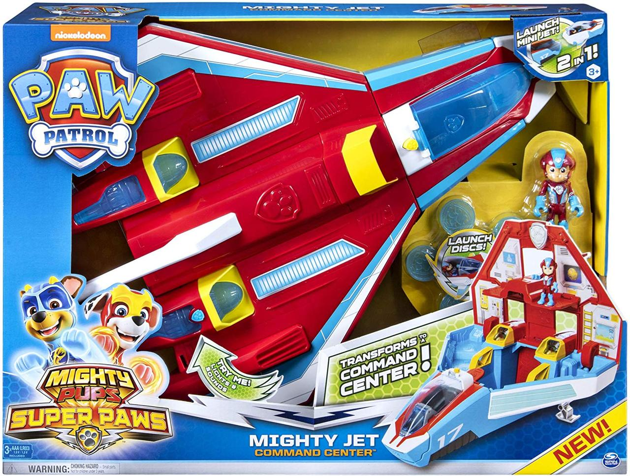 Щенячий Патруль самолет станция спасателей. супер щенки Paw Patrol Super Paws Transforming Mighty Pups Jet