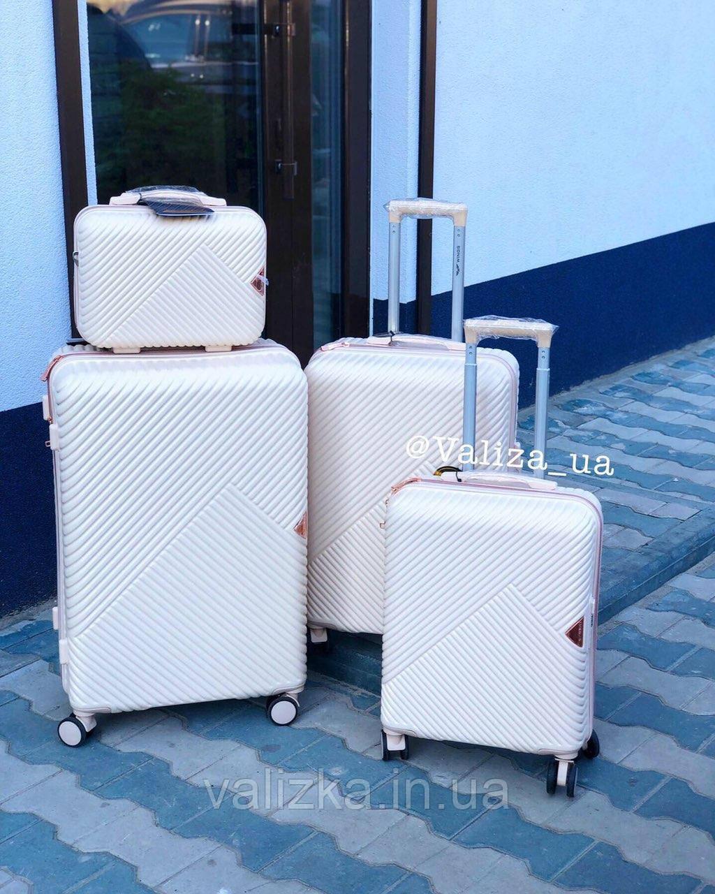 Комплект чемоданов из поликарбоната премиум серии 3 штуки малый, средний, большой + бьюти кейс молочный