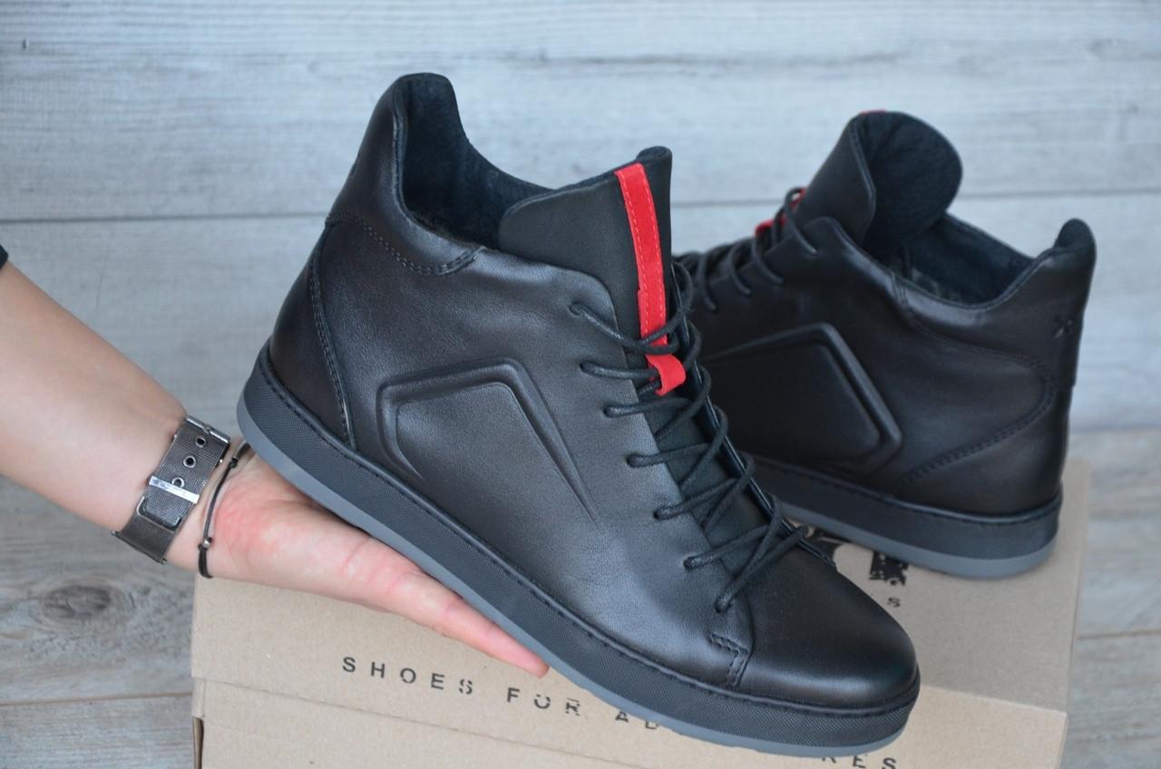 Зимние Мужские Ботинки Safari черные кожа