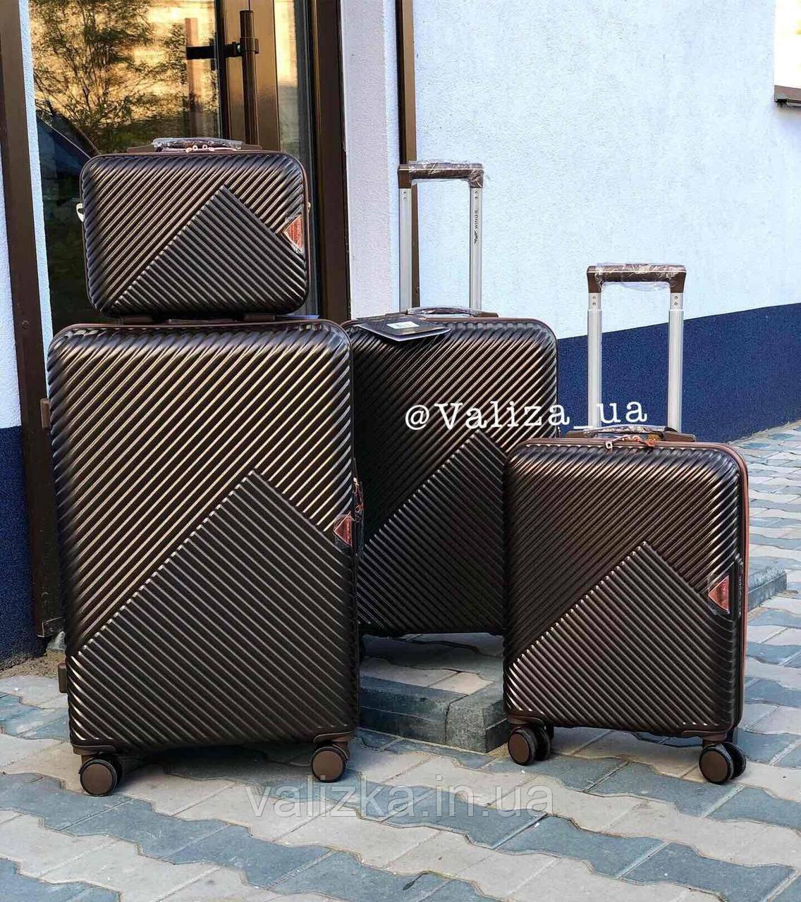 Комплект чемоданов из поликарбоната премиум серии 3 штуки малый, средний, большой + бьюти кейс кофейный