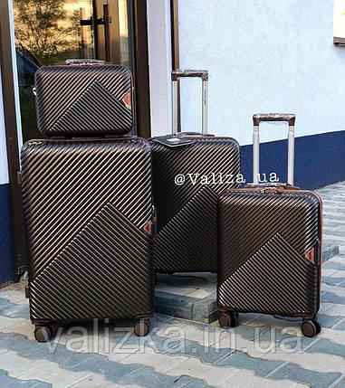 Комплект чемоданов из поликарбоната премиум серии 3 штуки малый, средний, большой + бьюти кейс кофейный, фото 2