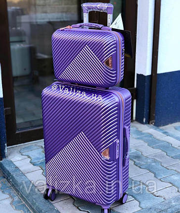 Комплект чемоданов из поликарбоната премиум серии 3 штуки малый, средний, большой + бьюти кейс фиолетовый, фото 2