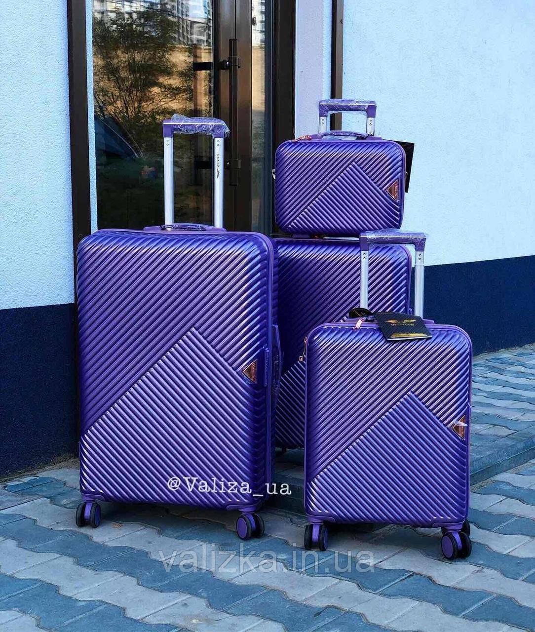 Комплект чемоданов из поликарбоната премиум серии 3 штуки малый, средний, большой + бьюти кейс фиолетовый