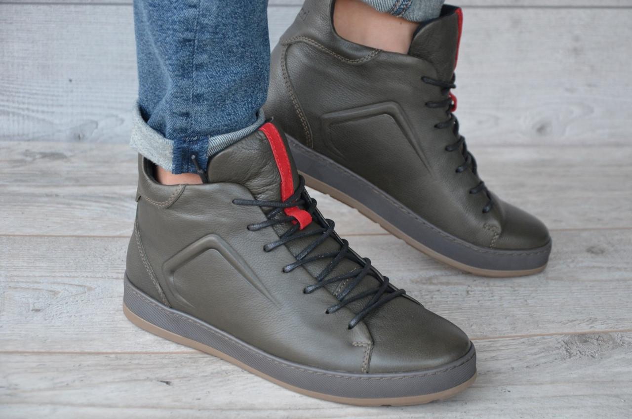 Зимние Мужские Ботинки Safari оливковые кожа