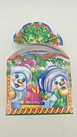 "Новогодняя картонная коробка для конфет, ""Бант Снеговики"", на 500  грамм (25 шт)"