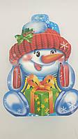 """Новогодняя картонная коробка для конфет, """"Снеговик руковичка"""", на 600 грамм (25 шт)"""
