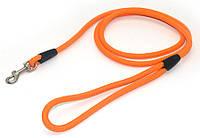 Поводок для собак круглый из капронового фала ПФ 0,6 см 150 см оранжевый