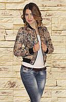 Модная красивая женская демисезонная куртка бомбер с цветочным принтом S M L, фото 1