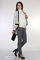 """Узкие брюки для беременных """"Lera"""", из стрейчевой костюмной ткани, серый меланж 2"""