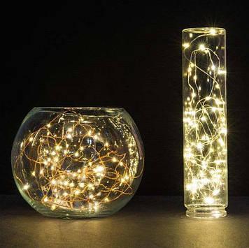 Светодиодная led гирлянда нить золото Роса Капли росы на батарейках+USB 10 м 3 режима свечения
