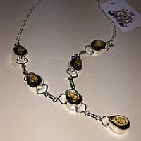 Раух топаз колье ожерелье с раух-топазом в серебре. Ожерелье с камнем раух-топаз. Индия!, фото 1