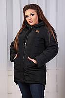 Куртка парка Зима, арт. 204 батал, цвет - черный