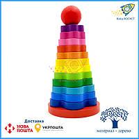 """Деревянная развивающая игрушка Пирамидка, """"Цветочек"""" 13 эл."""