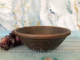 Миска для подачи салата резная из красной глины V 1,5 л