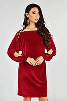 Нарядное женское платье бархатное Lipar Красное