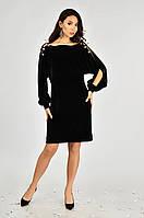 Нарядное женское платье бархатное Lipar Чёрное