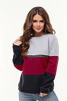 Теплый женский трехцветный свитер батал р.48-54 из трикотажа трехнитка.  Арт - 1024/11