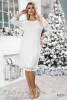 Нарядное платье для полных Гелена белое, фото 1