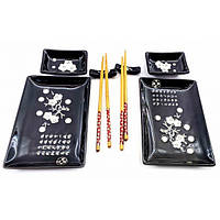 """Сервиз для суши """"Черный с белыми цветами сакуры"""" (2 персоны)(28х28,3х3,5 см) ( 23734A)"""