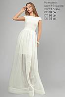 Женское платье вечернее с юбкой из органзы Lipar Белое