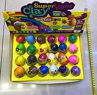 Масса для лепки Super Light Clay Dinosaur Eggs | Пластилин для лепки в яйце 24 шт./уп. | Цветная глина DIY