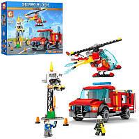 Конструктор Пожарный- пожарные спасатели, пожарный транспорт - машина, вертолет, аналог лего603035