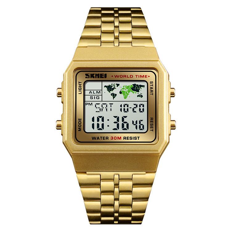 Skmei 1338 world золотисті класичні годинник