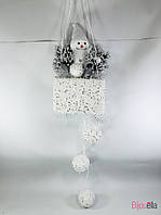 Подвесной новогодний декор Снеговик в корзине 75 см