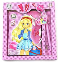 Блокнот с замком для девочек розовый (2 ключа)(19,5х17,5х2 см)A