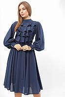 Женское платье Жабо Lipar Тёмно-синее